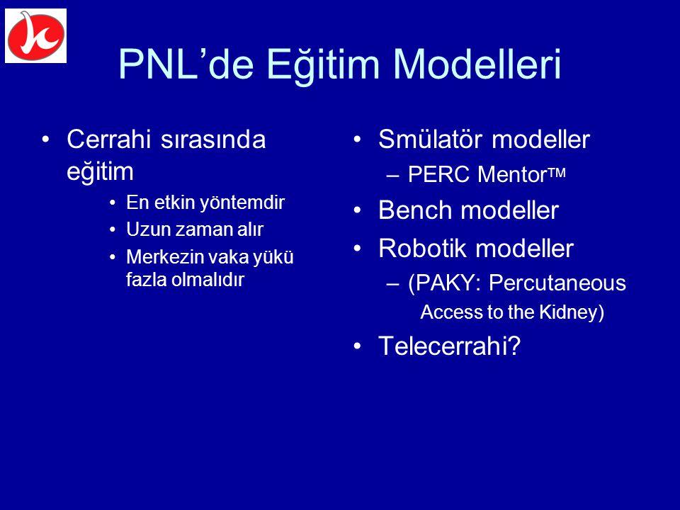 PNL'de Eğitim Modelleri Cerrahi sırasında eğitim En etkin yöntemdir Uzun zaman alır Merkezin vaka yükü fazla olmalıdır Smülatör modeller –PERC Mentor