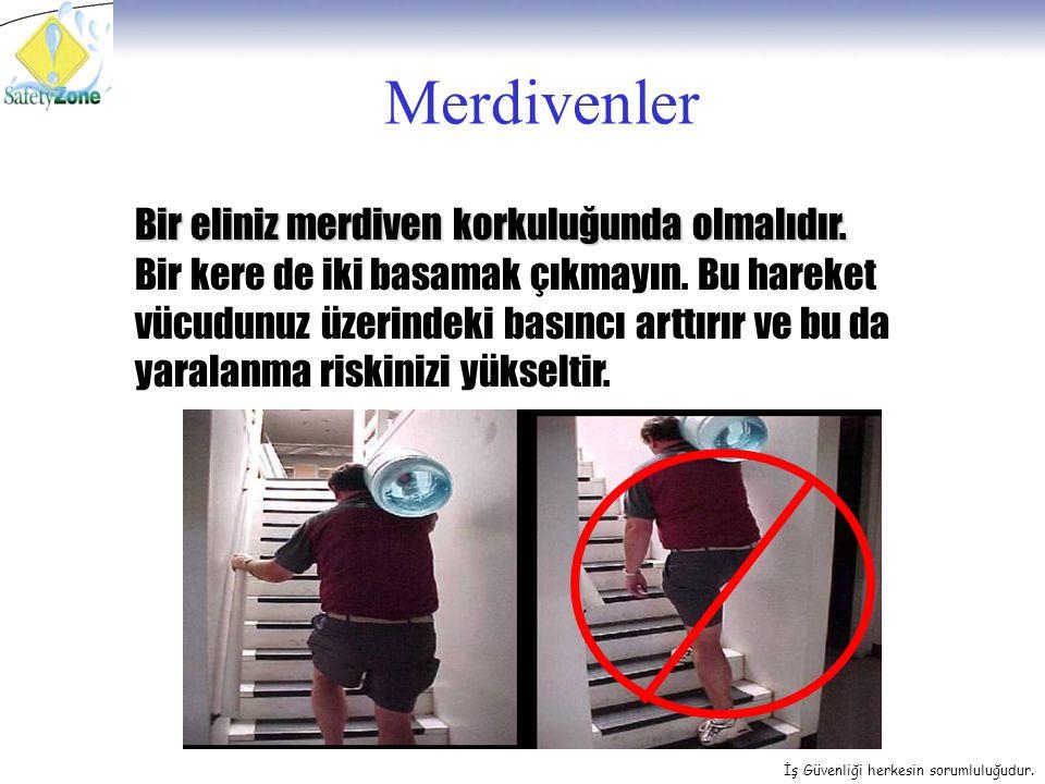 İş Güvenliği herkesin sorumluluğudur. Merdivenler Bir eliniz merdiven korkuluğunda olmalıdır. Bir kere de iki basamak çıkmayın. Bu hareket vücudunuz ü