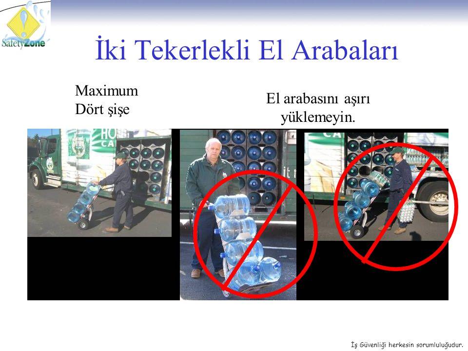 İş Güvenliği herkesin sorumluluğudur. İki Tekerlekli El Arabaları Maximum Dört şişe El arabasını aşırı yüklemeyin.