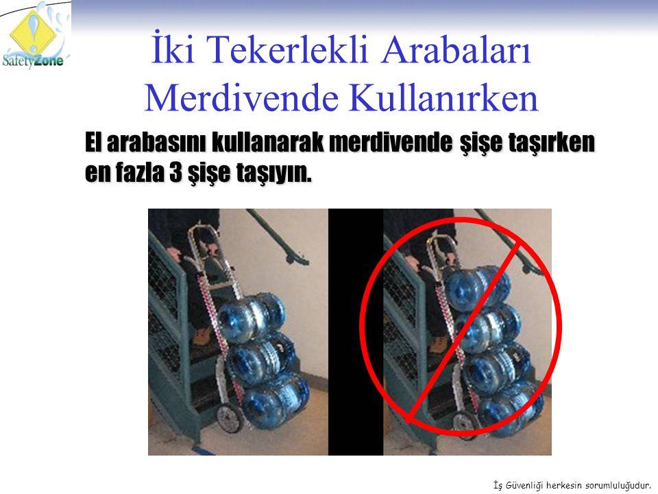 İş Güvenliği herkesin sorumluluğudur. İki Tekerlekli Arabaları Merdivende Kullanırken El arabasını kullanarak merdivende şişe taşırken en fazla 3 şişe