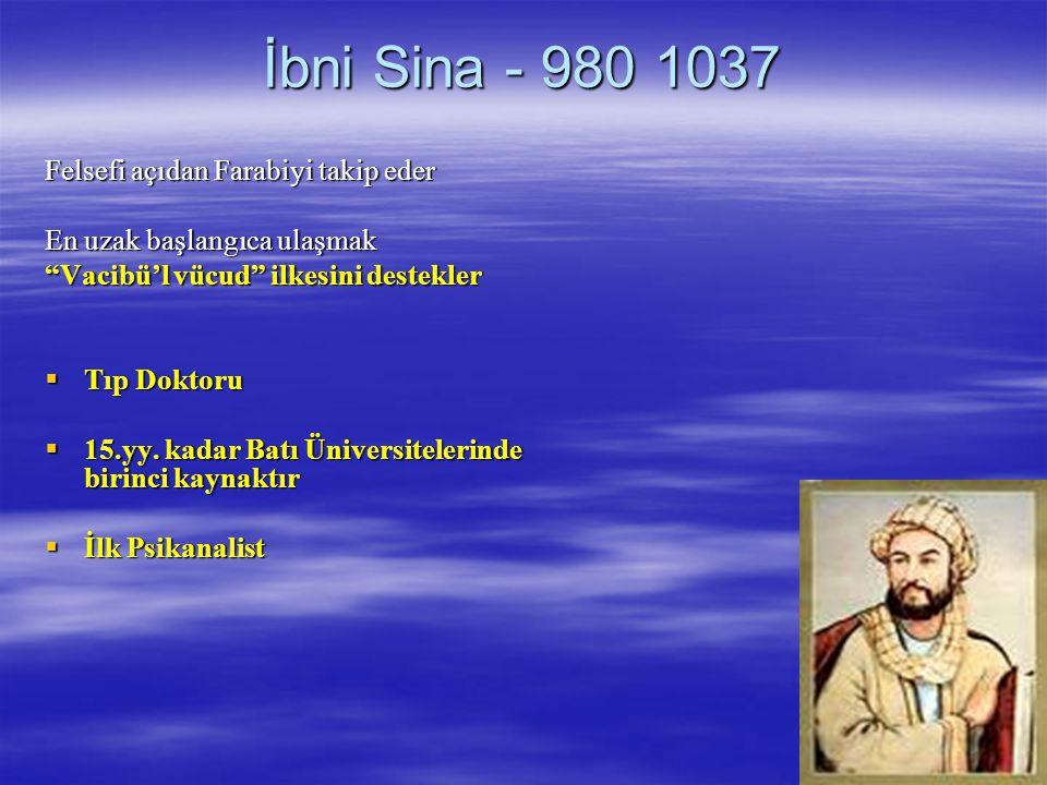 İbni Sina - 980 1037 Felsefi açıdan Farabiyi takip eder En uzak başlangıca ulaşmak Vacibü'l vücud ilkesini destekler  Tıp Doktoru  15.yy.