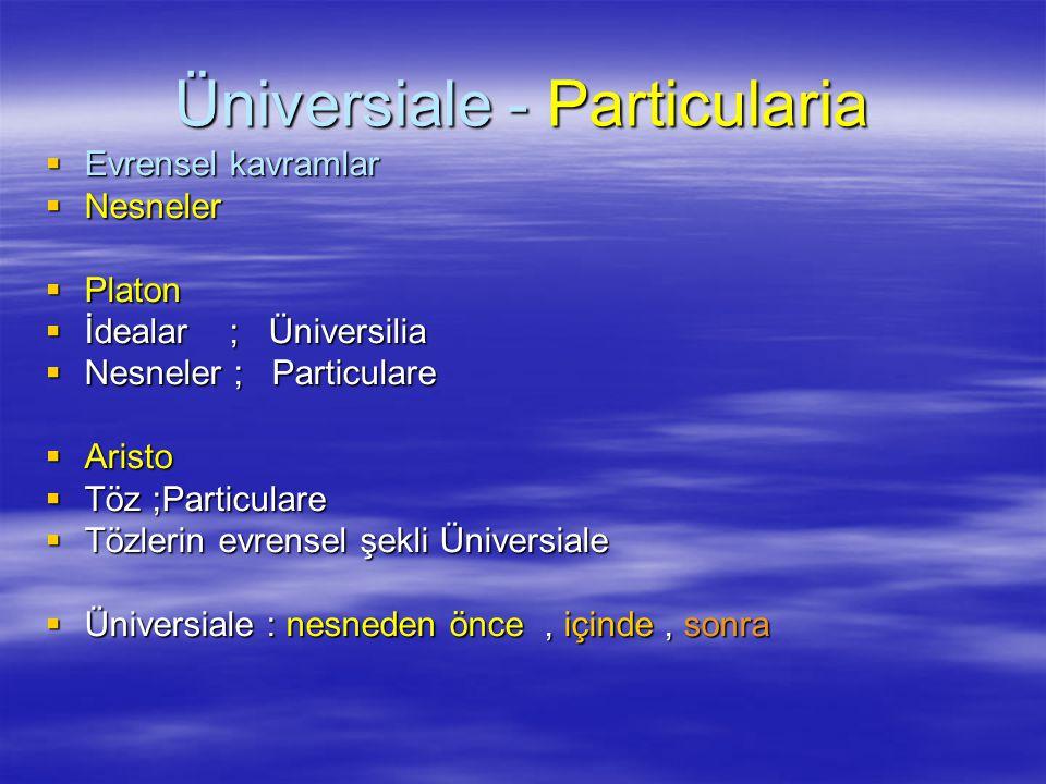 Üniversiale - Particularia  Evrensel kavramlar  Nesneler  Platon  İdealar ; Üniversilia  Nesneler ; Particulare  Aristo  Töz ;Particulare  Tözlerin evrensel şekli Üniversiale  Üniversiale : nesneden önce, içinde, sonra