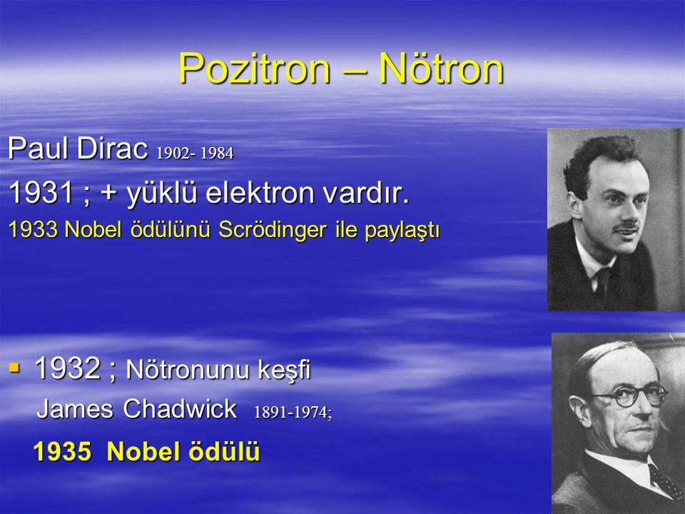 Pozitron – Nötron Paul Dirac 1902- 1984 1931 ; + yüklü elektron vardır.
