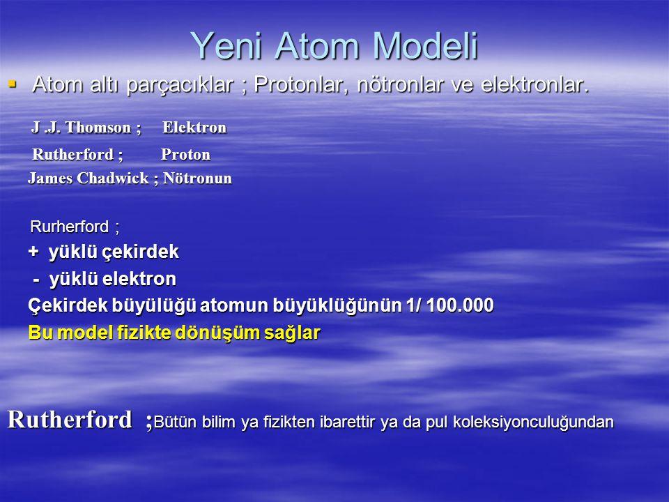 Yeni Atom Modeli AAAAtom altı parçacıklar ; Protonlar, nötronlar ve elektronlar.