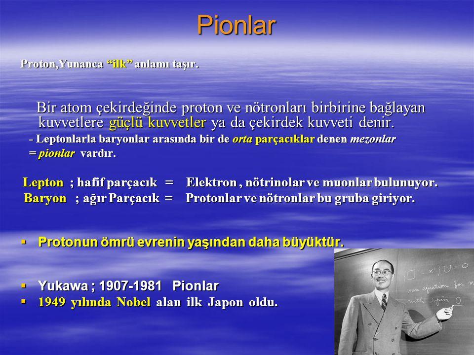 Pionlar Proton,Yunanca ilk anlamı taşır.