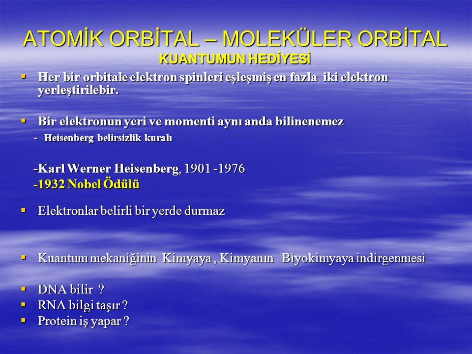 ATOMİK ORBİTAL – MOLEKÜLER ORBİTAL KUANTUMUN HEDİYESİ  Her bir orbitale elektron spinleri eşleşmiş en fazla iki elektron yerleştirilebir.