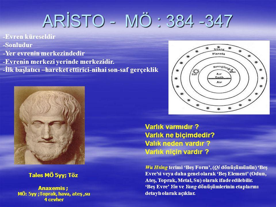 ARİSTO - MÖ : 384 -347 -Evren küreseldir -Sonludur -Yer evrenin merkezindedir -Evrenin merkezi yerinde merkezidir.