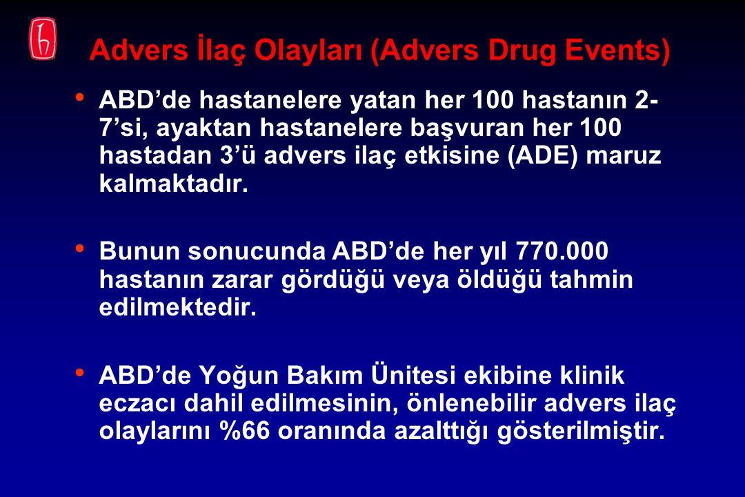 Advers İlaç Olayları (Advers Drug Events) ABD'de hastanelere yatan her 100 hastanın 2- 7'si, ayaktan hastanelere başvuran her 100 hastadan 3'ü advers