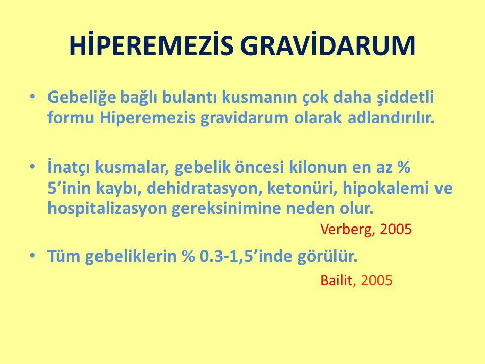 HİPEREMEZİS GRAVİDARUM Gebeliğe bağlı bulantı kusmanın çok daha şiddetli formu Hiperemezis gravidarum olarak adlandırılır. İnatçı kusmalar, gebelik ön