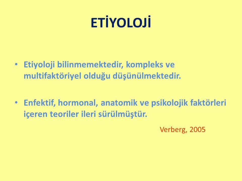 ETİYOLOJİ Etiyoloji bilinmemektedir, kompleks ve multifaktöriyel olduğu düşünülmektedir. Enfektif, hormonal, anatomik ve psikolojik faktörleri içeren