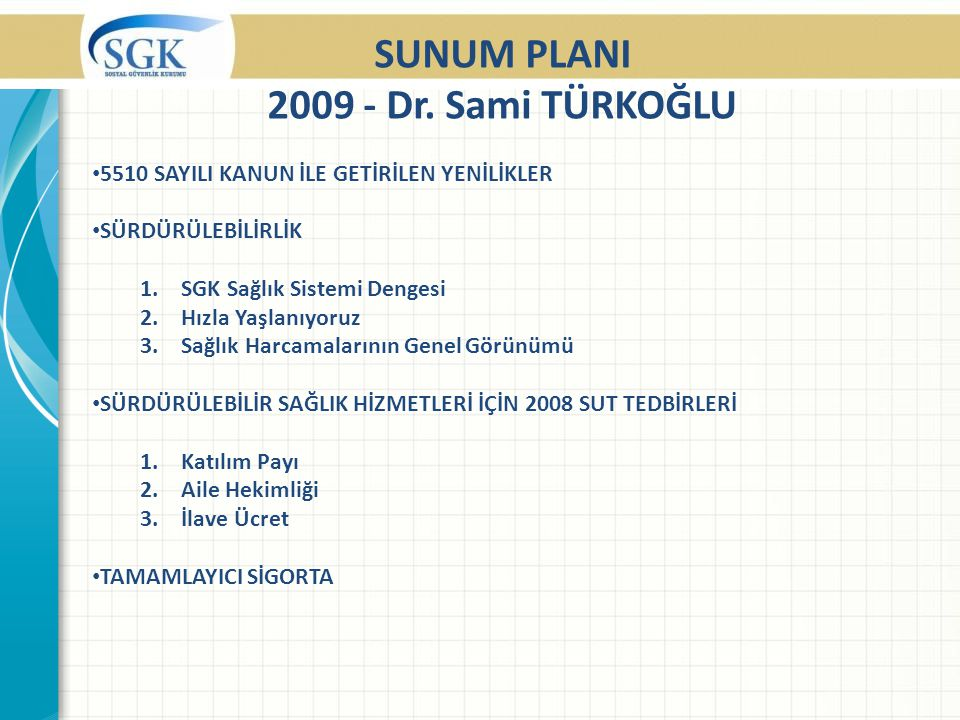 SUNUM PLANI 2009 - Dr.