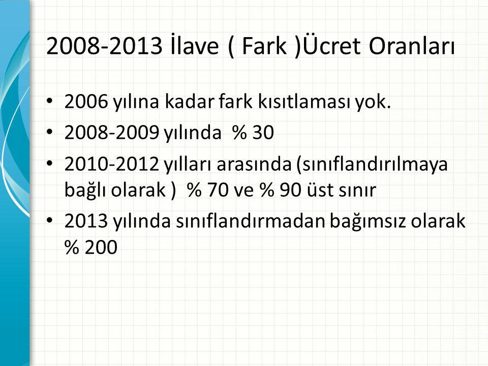 2008-2013 İlave ( Fark )Ücret Oranları 2006 yılına kadar fark kısıtlaması yok.