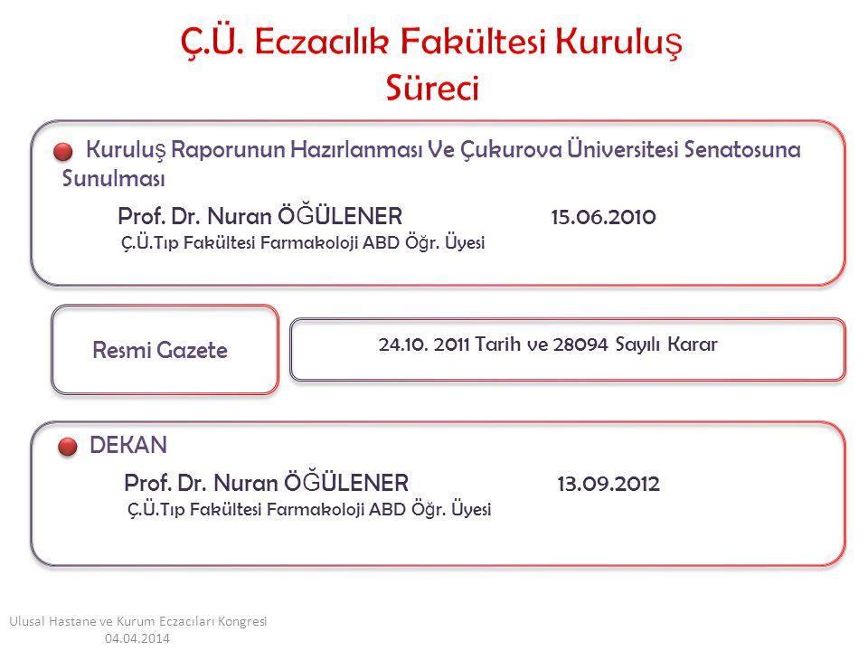 DEKAN Resmi Gazete Kurulu ş Raporunun Hazırlanması Ve Çukurova Üniversitesi Senatosuna Sunulması Prof.