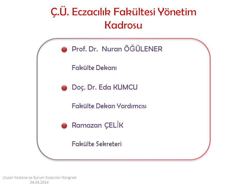 Prof. Dr. Nuran Ö Ğ ÜLENER Fakülte Dekanı Doç. Dr. Eda KUMCU Fakülte Dekan Yardımcısı Ramazan ÇEL İ K Fakülte Sekreteri Ulusal Hastane ve Kurum Eczacı
