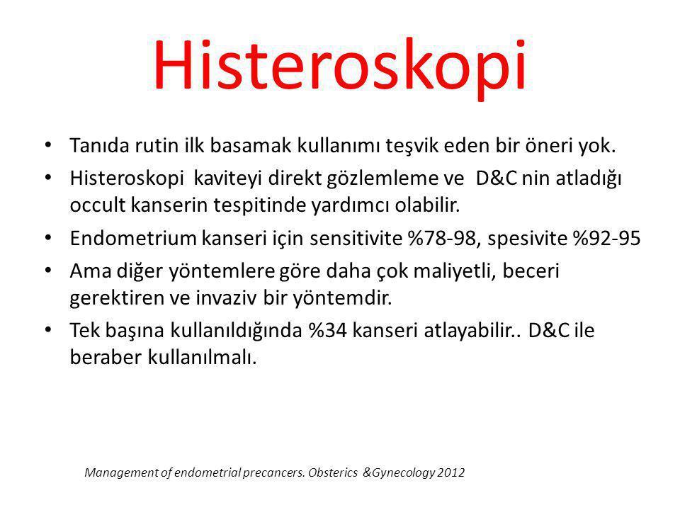 Histeroskopi Tanıda rutin ilk basamak kullanımı teşvik eden bir öneri yok. Histeroskopi kaviteyi direkt gözlemleme ve D&C nin atladığı occult kanserin