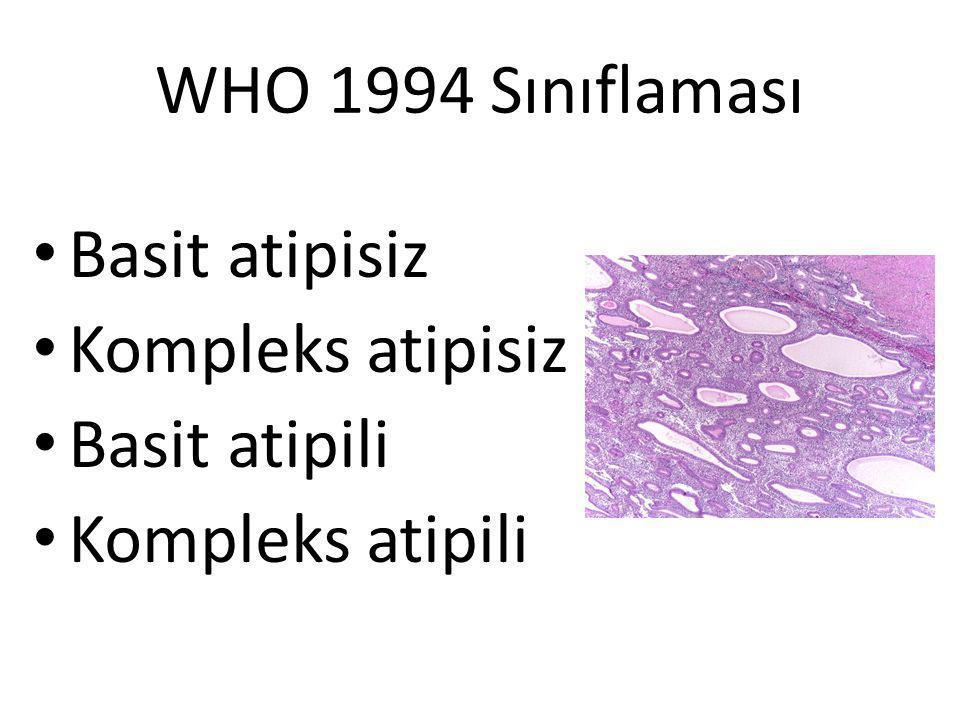 WHO 1994 Sınıflaması Basit atipisiz Kompleks atipisiz Basit atipili Kompleks atipili