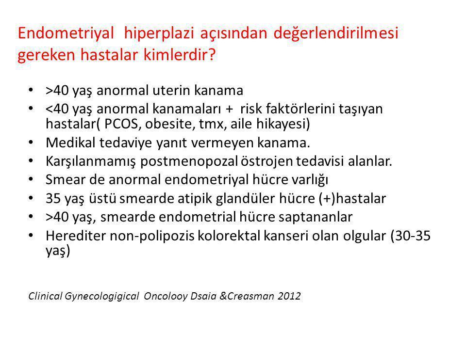 >40 yaş anormal uterin kanama <40 yaş anormal kanamaları + risk faktörlerini taşıyan hastalar( PCOS, obesite, tmx, aile hikayesi) Medikal tedaviye yan