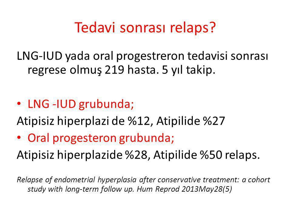 Tedavi sonrası relaps? LNG-IUD yada oral progestreron tedavisi sonrası regrese olmuş 219 hasta. 5 yıl takip. LNG -IUD grubunda; Atipisiz hiperplazi de
