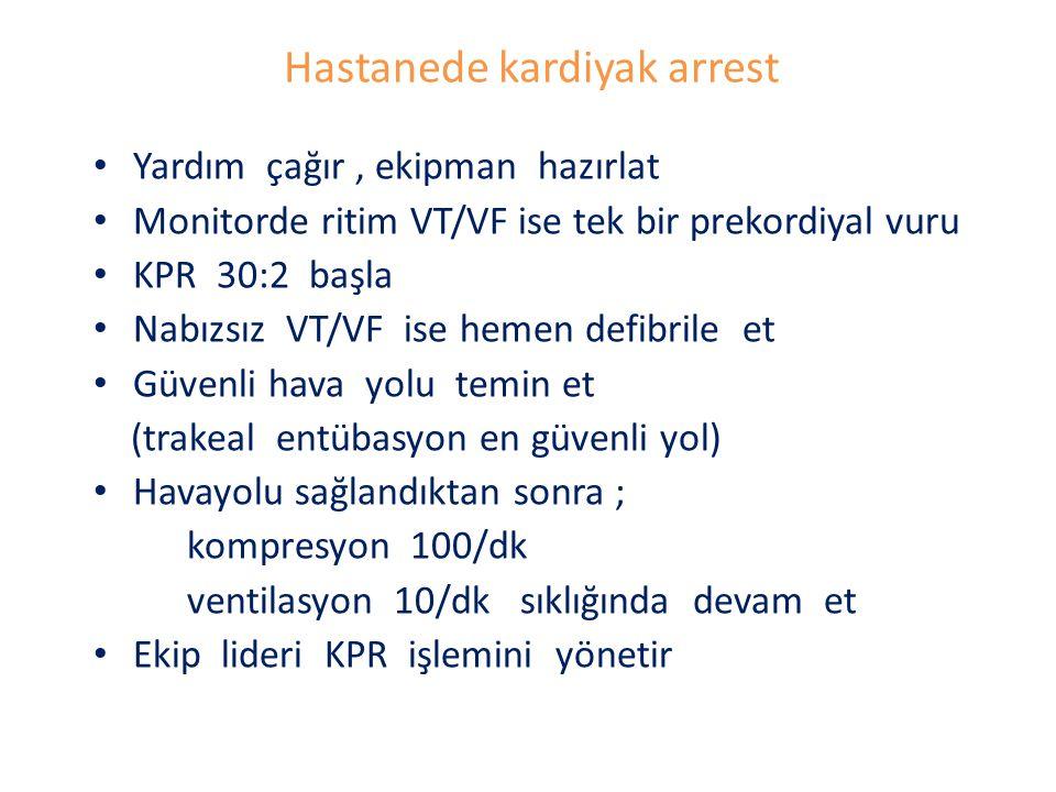 Hastanede kardiyak arrest Yardım çağır, ekipman hazırlat Monitorde ritim VT/VF ise tek bir prekordiyal vuru KPR 30:2 başla Nabızsız VT/VF ise hemen de