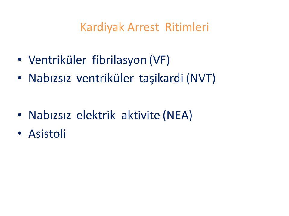 Kardiyak Arrest Ritimleri Ventriküler fibrilasyon (VF) Nabızsız ventriküler taşikardi (NVT) Nabızsız elektrik aktivite (NEA) Asistoli