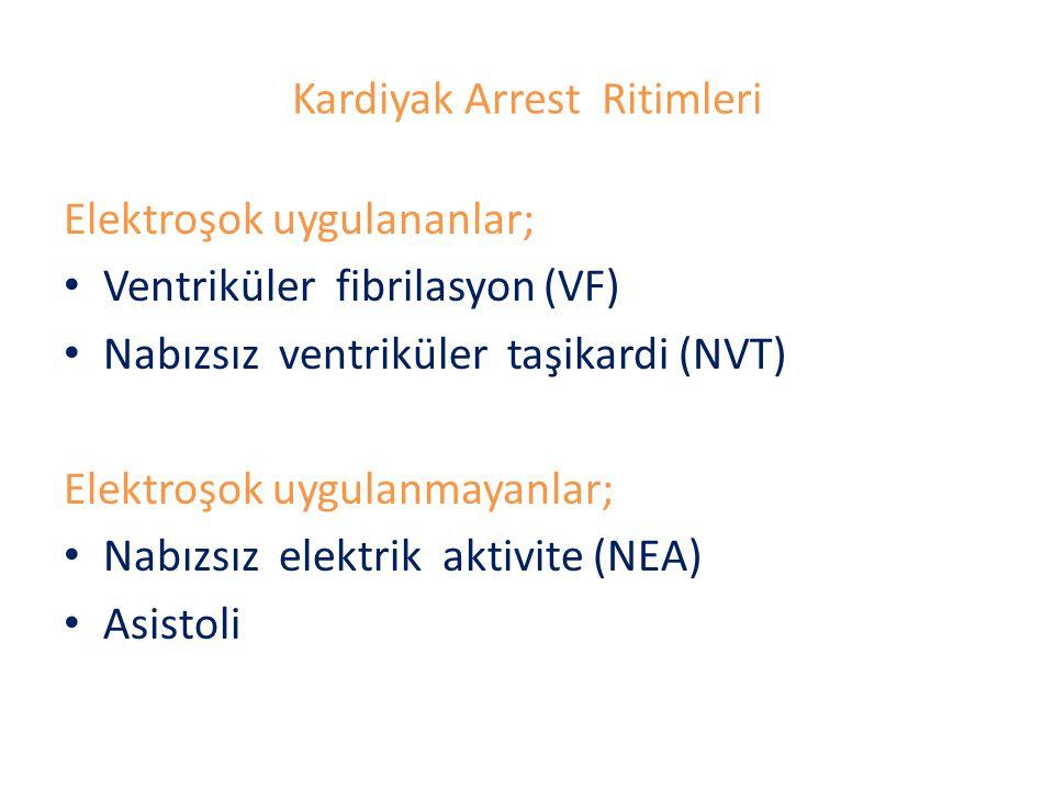 Kardiyak Arrest Ritimleri Elektroşok uygulananlar; Ventriküler fibrilasyon (VF) Nabızsız ventriküler taşikardi (NVT) Elektroşok uygulanmayanlar; Nabız