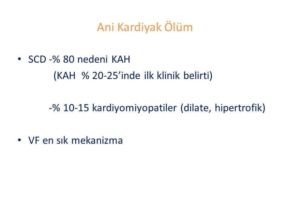 Ani Kardiyak Ölüm SCD -% 80 nedeni KAH (KAH % 20-25'inde ilk klinik belirti) -% 10-15 kardiyomiyopatiler (dilate, hipertrofik) VF en sık mekanizma