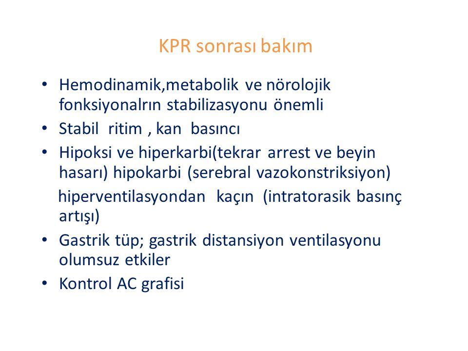 KPR sonrası bakım Hemodinamik,metabolik ve nörolojik fonksiyonalrın stabilizasyonu önemli Stabil ritim, kan basıncı Hipoksi ve hiperkarbi(tekrar arres
