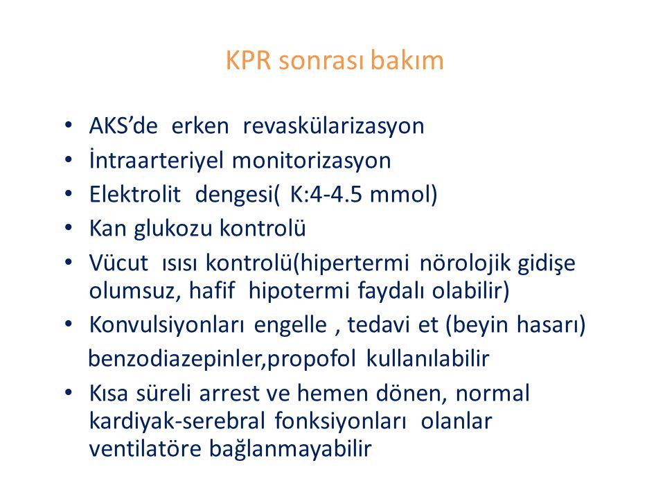 KPR sonrası bakım AKS'de erken revaskülarizasyon İntraarteriyel monitorizasyon Elektrolit dengesi( K:4-4.5 mmol) Kan glukozu kontrolü Vücut ısısı kontrolü(hipertermi nörolojik gidişe olumsuz, hafif hipotermi faydalı olabilir) Konvulsiyonları engelle, tedavi et (beyin hasarı) benzodiazepinler,propofol kullanılabilir Kısa süreli arrest ve hemen dönen, normal kardiyak-serebral fonksiyonları olanlar ventilatöre bağlanmayabilir