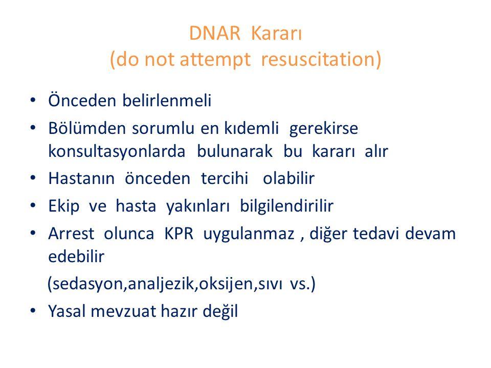 DNAR Kararı (do not attempt resuscitation) Önceden belirlenmeli Bölümden sorumlu en kıdemli gerekirse konsultasyonlarda bulunarak bu kararı alır Hasta