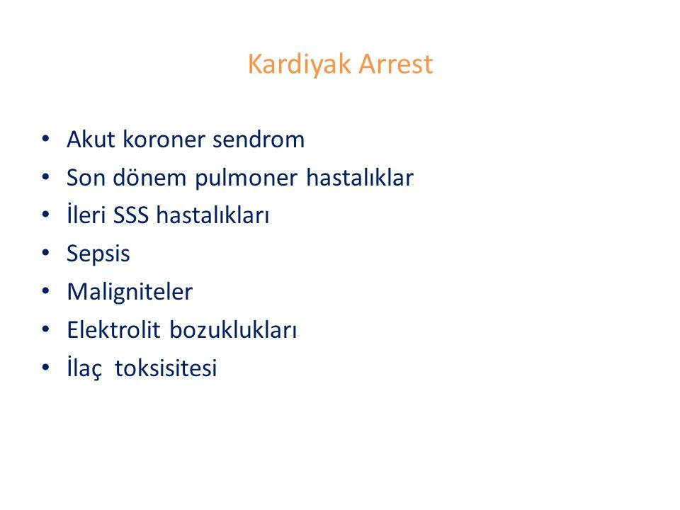 Kardiyak Arrest Akut koroner sendrom Son dönem pulmoner hastalıklar İleri SSS hastalıkları Sepsis Maligniteler Elektrolit bozuklukları İlaç toksisites