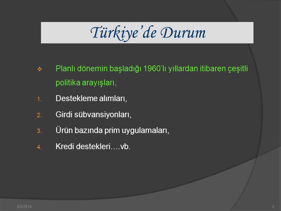 9/5/20143 Türkiye'de Durum  Planlı dönemin başladığı 1960'lı yıllardan itibaren çeşitli politika arayışları, 1.