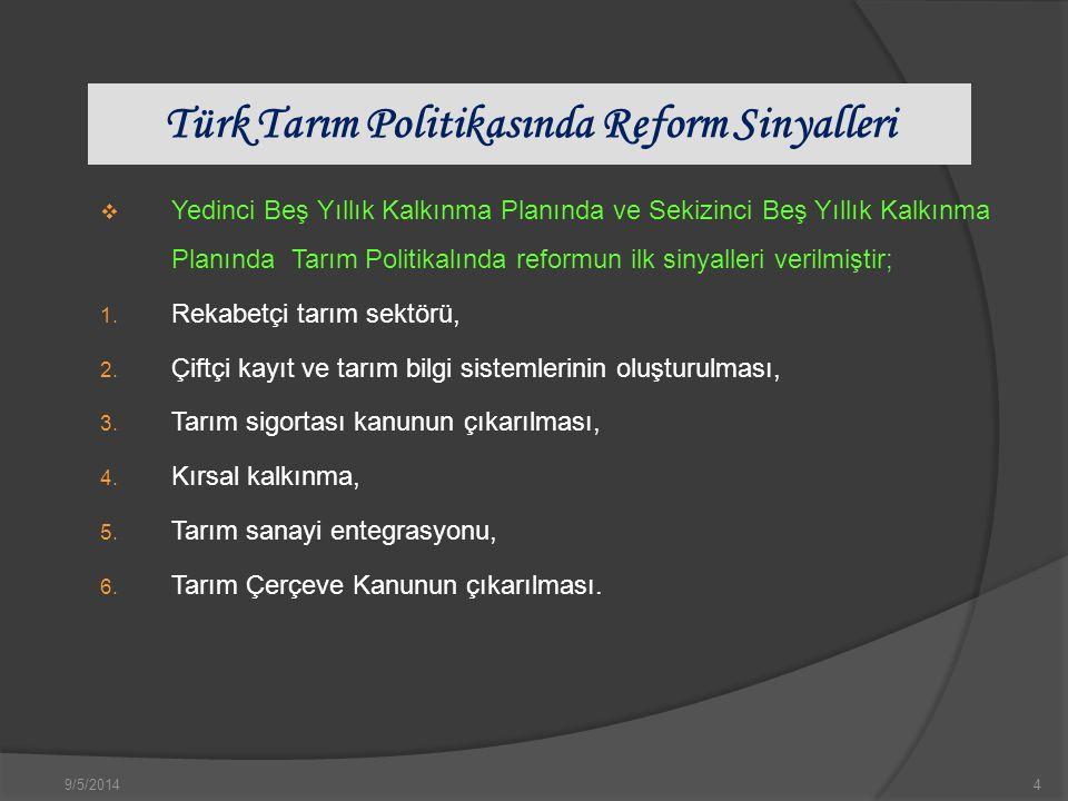 9/5/20144 Türk Tarım Politikasında Reform Sinyalleri  Yedinci Beş Yıllık Kalkınma Planında ve Sekizinci Beş Yıllık Kalkınma Planında Tarım Politikalında reformun ilk sinyalleri verilmiştir; 1.