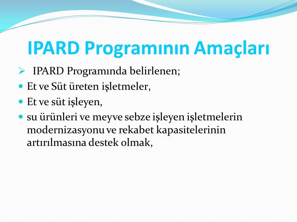 IPARD Programının Amaçları  IPARD Programında belirlenen; Et ve Süt üreten işletmeler, Et ve süt işleyen, su ürünleri ve meyve sebze işleyen işletmel