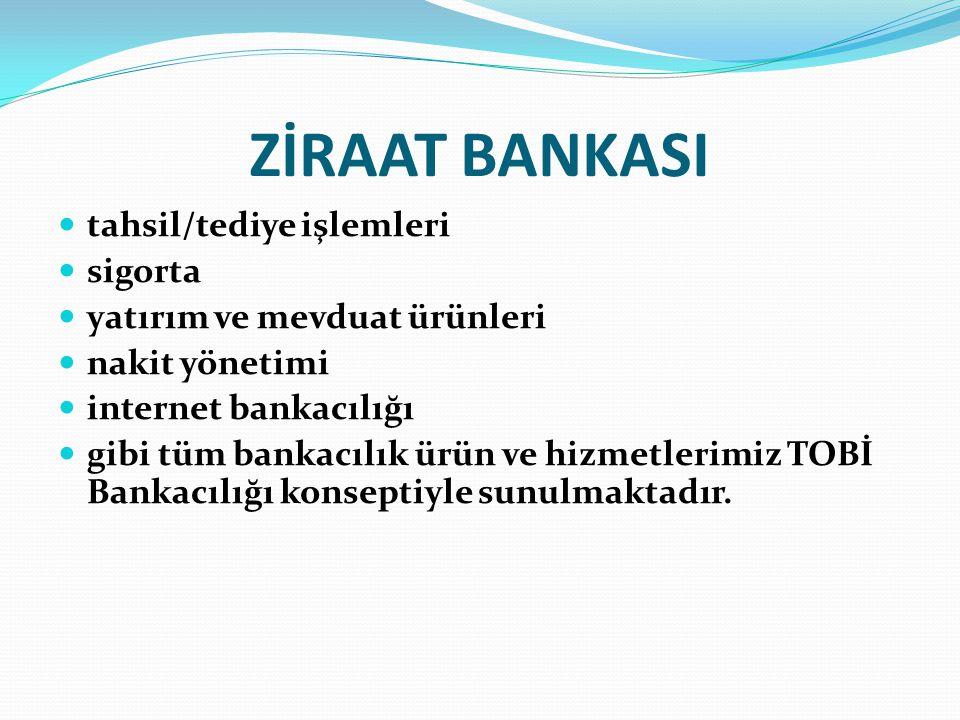 ZİRAAT BANKASI tahsil/tediye işlemleri sigorta yatırım ve mevduat ürünleri nakit yönetimi internet bankacılığı gibi tüm bankacılık ürün ve hizmetlerim