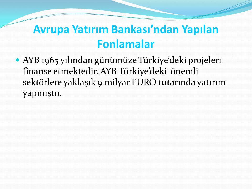 Avrupa Yatırım Bankası'ndan Yapılan Fonlamalar AYB 1965 yılından günümüze Türkiye'deki projeleri finanse etmektedir. AYB Türkiye'deki önemli sektörler