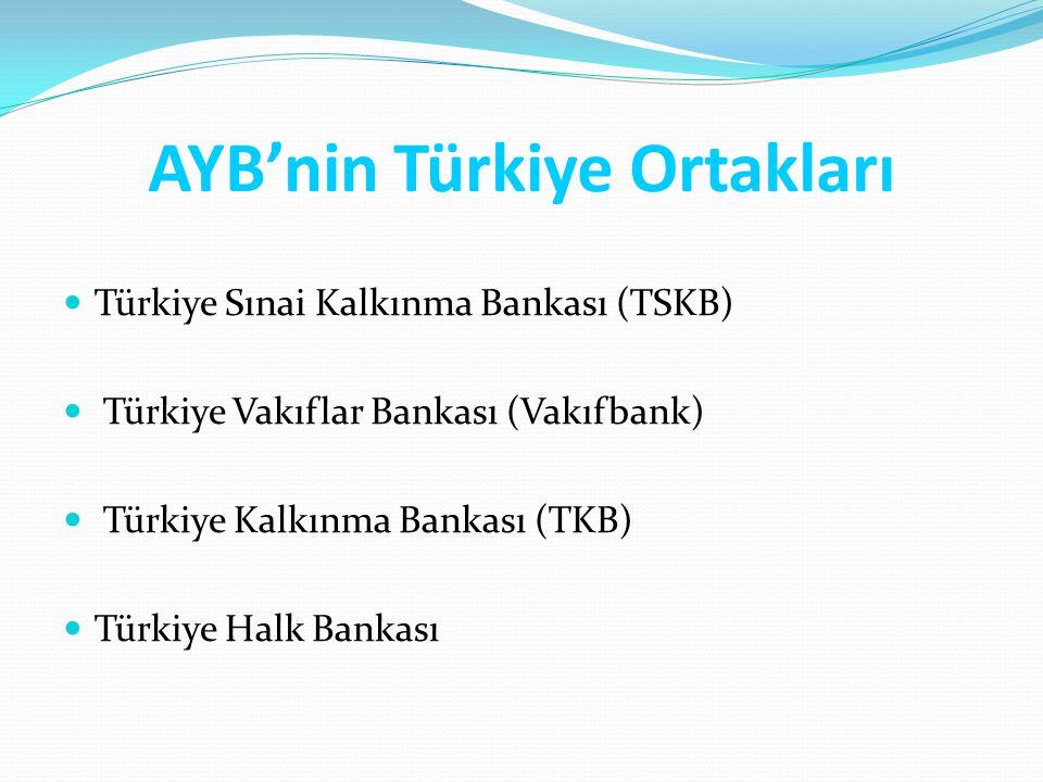 AYB'nin Türkiye Ortakları Türkiye Sınai Kalkınma Bankası (TSKB) Türkiye Vakıflar Bankası (Vakıfbank) Türkiye Kalkınma Bankası (TKB) Türkiye Halk Banka