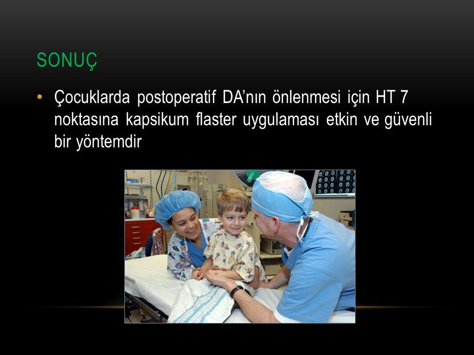 SONUÇ Çocuklarda postoperatif DA'nın önlenmesi için HT 7 noktasına kapsikum flaster uygulaması etkin ve güvenli bir yöntemdir