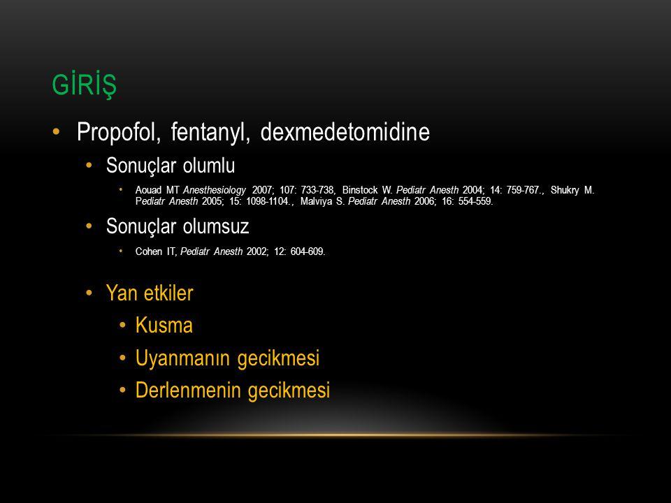 GİRİŞ Propofol, fentanyl, dexmedetomidine Sonuçlar olumlu Aouad MT Anesthesiology 2007; 107: 733-738, Binstock W. Pediatr Anesth 2004; 14: 759-767., S