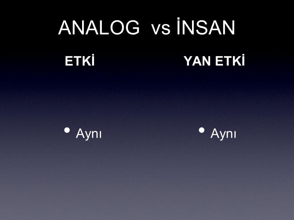 ANALOG vs İNSAN ETKİ Aynı YAN ETKİ Aynı