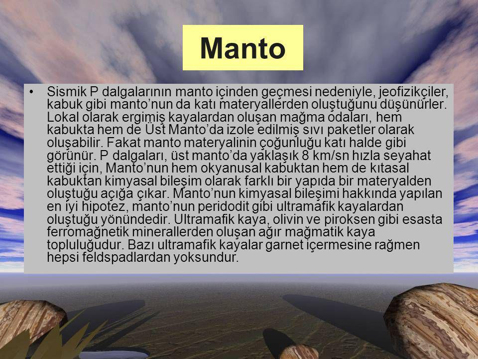 Manto Sismik P dalgalarının manto içinden geçmesi nedeniyle, jeofizikçiler, kabuk gibi manto'nun da katı materyallerden oluştuğunu düşünürler.