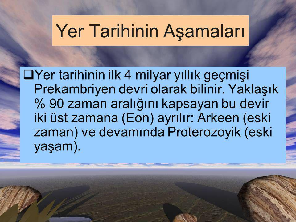 Yer Tarihinin Aşamaları  Yer tarihinin ilk 4 milyar yıllık geçmişi Prekambriyen devri olarak bilinir.