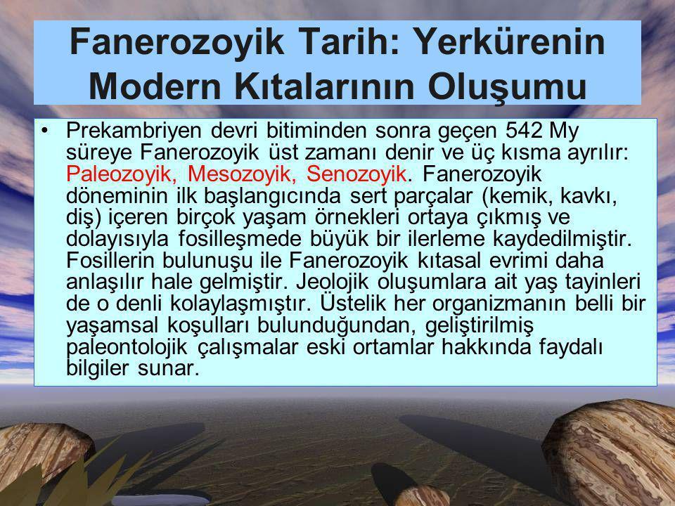 Fanerozoyik Tarih: Yerkürenin Modern Kıtalarının Oluşumu Prekambriyen devri bitiminden sonra geçen 542 My süreye Fanerozoyik üst zamanı denir ve üç kısma ayrılır: Paleozoyik, Mesozoyik, Senozoyik.