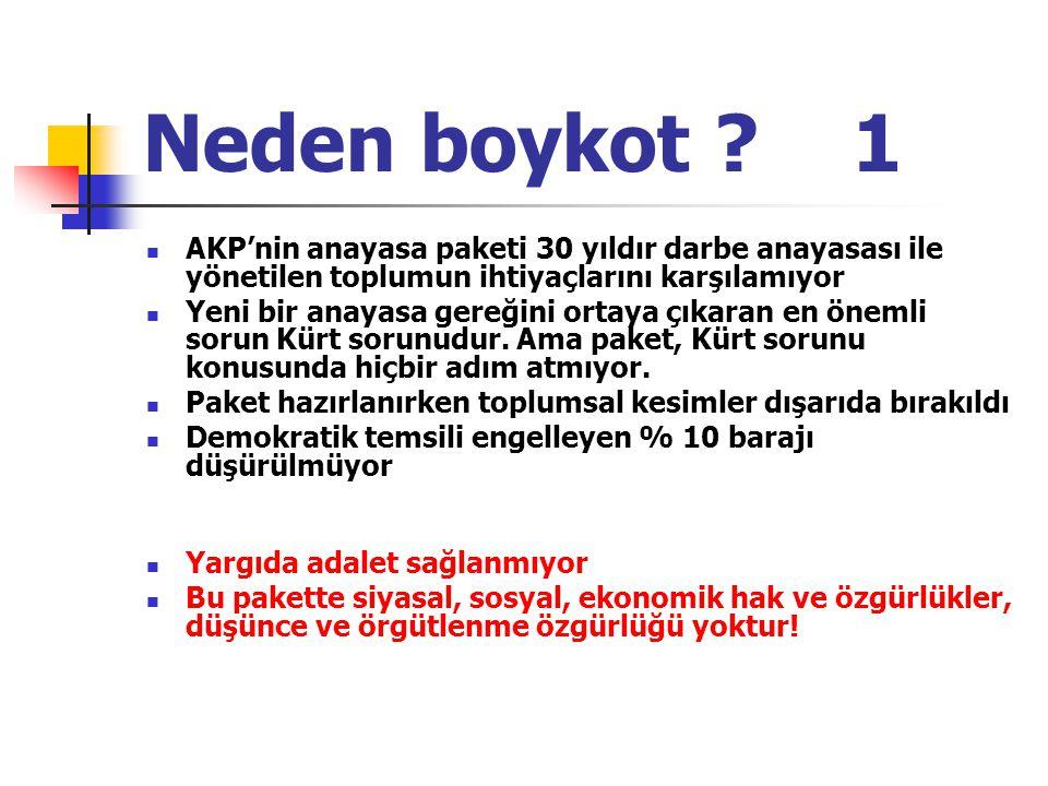 Neden boykot ? 1 AKP'nin anayasa paketi 30 yıldır darbe anayasası ile yönetilen toplumun ihtiyaçlarını karşılamıyor Yeni bir anayasa gereğini ortaya ç