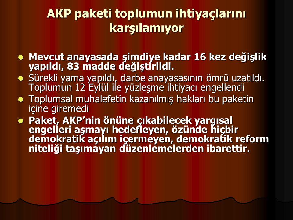 AKP paketi toplumun ihtiyaçlarını karşılamıyor Mevcut anayasada şimdiye kadar 16 kez değişlik yapıldı, 83 madde değiştirildi. Mevcut anayasada şimdiye