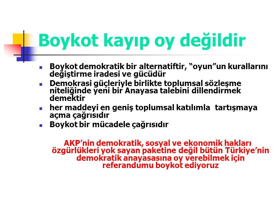 """Boykot kayıp oy değildir Boykot demokratik bir alternatiftir, """"oyun""""un kurallarını değiştirme iradesi ve gücüdür Demokrasi güçleriyle birlikte toplums"""