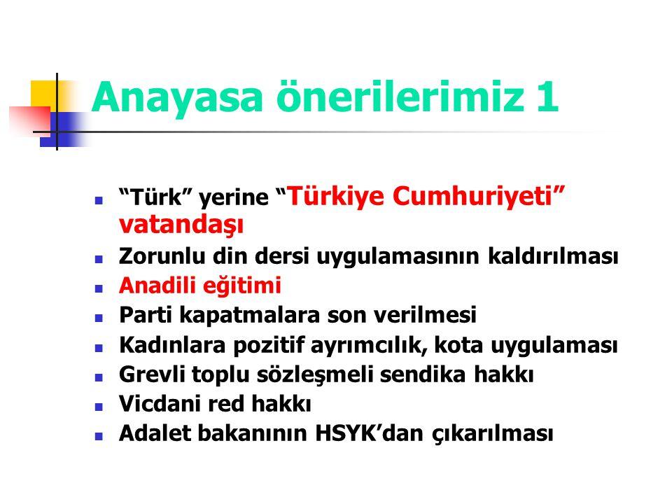 """Anayasa önerilerimiz 1 """"Türk"""" yerine """" Türkiye Cumhuriyeti"""" vatandaşı Zorunlu din dersi uygulamasının kaldırılması Anadili eğitimi Parti kapatmalara s"""