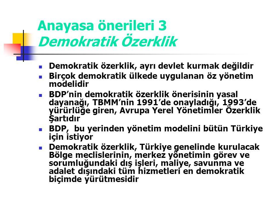 Anayasa önerileri 3 Demokratik Özerklik Demokratik özerklik, ayrı devlet kurmak değildir Birçok demokratik ülkede uygulanan öz yönetim modelidir BDP'n