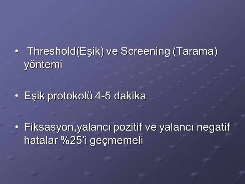 Threshold(Eşik) ve Screening (Tarama) yöntemi Threshold(Eşik) ve Screening (Tarama) yöntemi Eşik protokolü 4-5 dakikaEşik protokolü 4-5 dakika Fiksasy