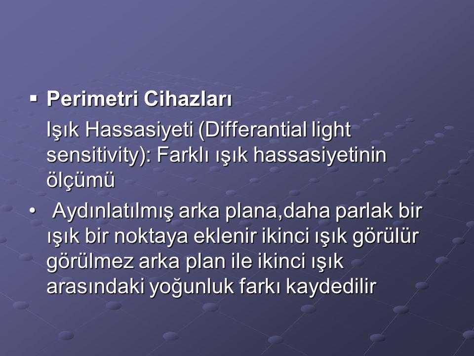  Perimetri Cihazları Işık Hassasiyeti (Differantial light sensitivity): Farklı ışık hassasiyetinin ölçümü Işık Hassasiyeti (Differantial light sensit