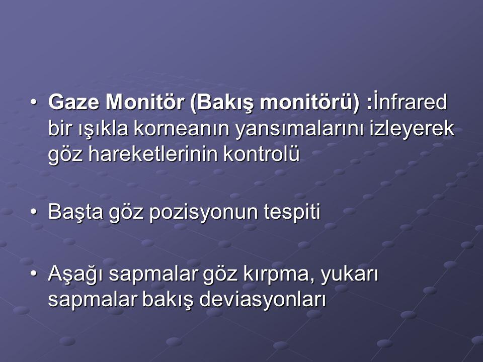 Gaze Monitör (Bakış monitörü) :İnfrared bir ışıkla korneanın yansımalarını izleyerek göz hareketlerinin kontrolüGaze Monitör (Bakış monitörü) :İnfrare